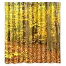 autumn forest yellow leaves custom designer bath bathroom curtain waterproof fabric shower curtains inches in from fabric shower curtain