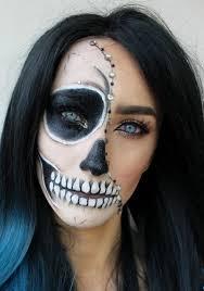 glam half skull makeup