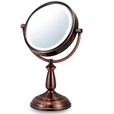 ovente led 8x magnifying makeup mirror 6 0 lighted travel vanity mirror cordless