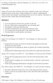 Tv Production Resume Examples 1 Television News Producer Resume Templates Try Them Now