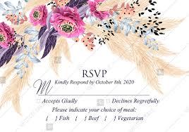 Rsvp Template Online Pampas Grass Rsvp Wedding Invitation Set Pink Peony Flower