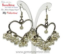 ivory cream romantic heart chandelier drop earrings gemstoneriver uk bride wedding mother of bride