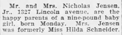 Nicholas Jensen Jr. + Hilda (Schneider) Jensen - Birth of Girl - Feb 19,  1923 - Newspapers.com