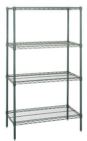 quantum green wire shelving rack with 4 tiers x 12 inch deep units