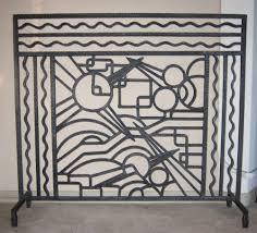 iron art deco fireplace screen
