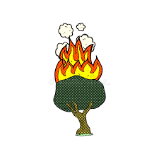 ic cartoon tree on fire stock ilration ilration of drawing 51585679