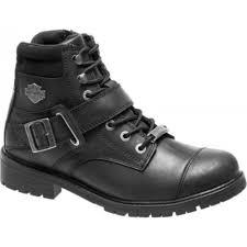 harley davidson bowers men black leather biker boots rock buckles lace up