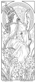 coloring page woman art nouveau style woman and flowers by angela r ser