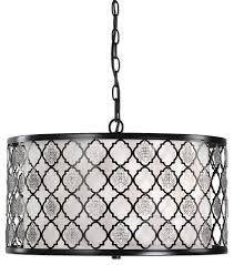 quatrefoil black white fretwork drum pendant midcentury arabesque chandelier