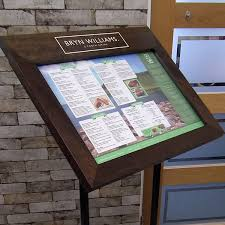 Wooden Menu Display Stands Custom Wood Impact Free Standing Menu Display Case Mainly Menus