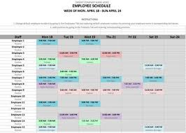 How To Make Schedules For Employees Employee Schedule Excel Template Schedule Templates