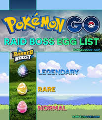 Pokemon Go Raid Boss Egg List Normal Rare Legendary Gen 3