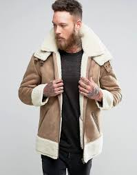 asos au asos oversized faux shearling jacket men camel