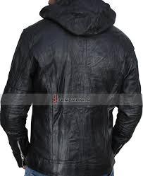 genuine hooded leather jacket black wrinkled hooded jacket