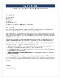 Example Of Executive Cover Letters Restaurant Manager Cover Letter Sample Monster Com