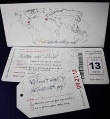 Red Blue Vintage World Map Airline Ticket Wedding Invitations
