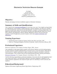 resume examples sample resume electronics technician sample of resume examples electronics technician resume template example objective career statement and summary of qualifications