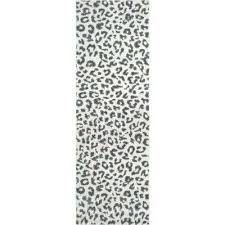 leopard print grey 3 ft x 8 ft runner rug