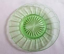 vintage green hazel atlas ribbon bread side lunch plates depression glass 1930 1935