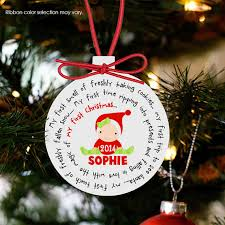 Baby's first Christmas ornament personalized for a girl or