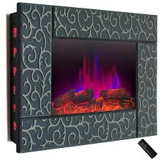 wall mount electric fireplace heater in green tempered glass with pebbles logs and remote control