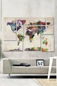 World Map Urban Watercolor II 8 Panel Sectional Wall Art   HauteLook