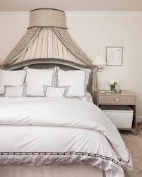 Gray Bedroom with Gray Bed Canopy and Gray Nightstands ...