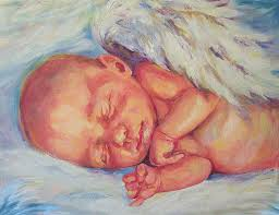 baby painting angel baby by peggy wilson