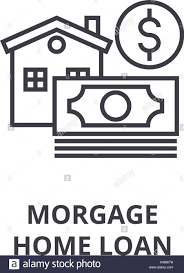 Linear Home Loans Morgage Home Loan Line Icon Outline Sign Linear Symbol Vector