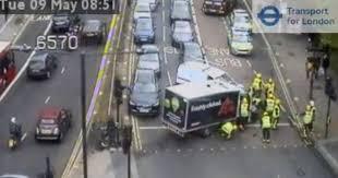tesco van and london bus collide causing hammersmith bridge rush hour chaos get west london