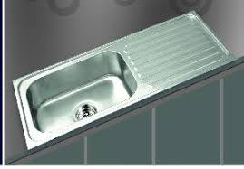 square shaped snless steel kitchen sink with drainboard