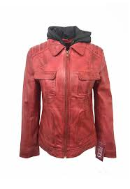 womens removable hood leather jacket red