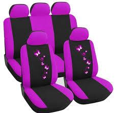 universal car seat covers 5 sets purple front rear full set protectors headres