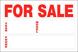 Automobile For Sale Sign Hillman 841944 For Sale Static Cling Sign With Car Year