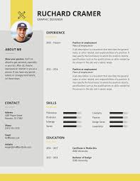 Modern Resume Infographics Modern Graphic Designer Resume Template Graphic Design