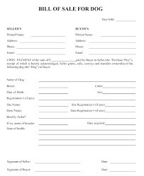 Bill Of Sale Agreement Template For Dog Ideas Printable