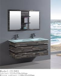 fantastic floating double washbasin and stone pattern gray bathroom vanity with wall mount mirrored shelves hang on grey wall bathroom painted in modern