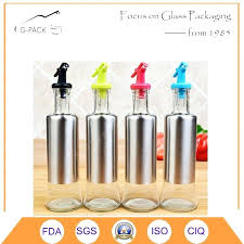 china stainless steel coated glass oil bottle with dispenser india