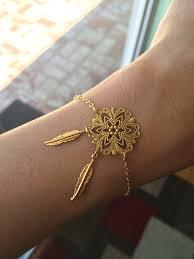 Dream Catcher Gold Bracelet Dreamcatcher Bracelet Feather Bracelet Filigree Gold 11