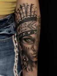 Indian Girl Black And Grey Tattoo Portrait Indian Girl тату тату
