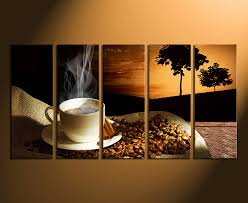home wall decor 5 piece canvas art prints coffee beans artwork cup large on brown wall art canvas with 5 piece large canvas coffee wall decor coffee beans multi panel