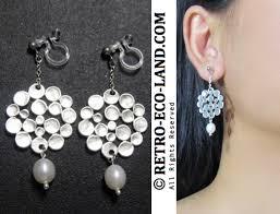 a1 rel matte silver modern geometric dots wedding bridal pearl chandelier dangle long clip