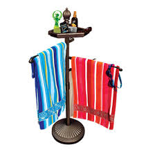 portable outdoor towel pool rack holder stand deck spa patio swimsuit organizer