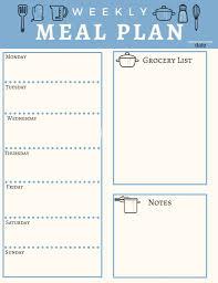 Printable Weekly Menu Planner Stonegable