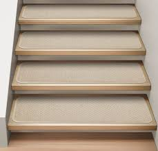 carpet treads. set of 15 attachable carpet stair treads ivory cream n