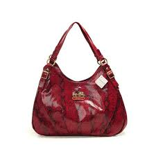 Coach Embossed Medium Red Hobo DYE