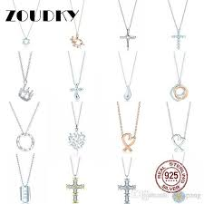 whole dorapang 100 925 sterling silver necklace heart shaped sun cross crown teardrop pendant chain rose gold original women jewelry long pendant
