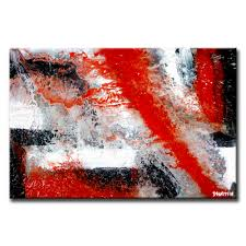 zero gravity acrylic abstract painting by peter dranitsin black white red silver theme