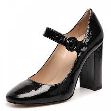 black chunky heels mary jane shoes square toe pumps for office lady image 1