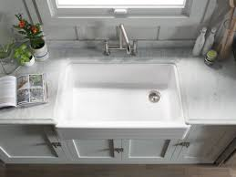 kohler k 6349 0 white whitehaven 35 11 16 double basin farmhouse cast iron kitchen sink with self t a and smartdivide faucet com